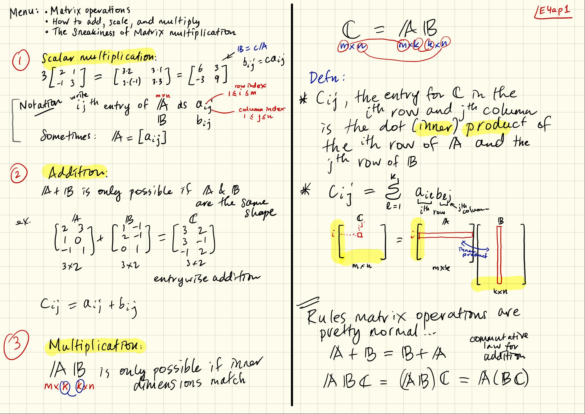 Note Set 04a: Basic matrix wrangling & the dangers of multiplication
